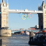 Olympic rings on the Tower Bridge, London